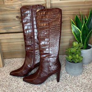Bared Jacamar Chocolate Croc Emboss Leather Boots